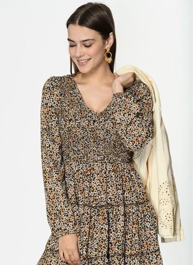 Loves You Ön Arka V Emprime Elbise Sarı